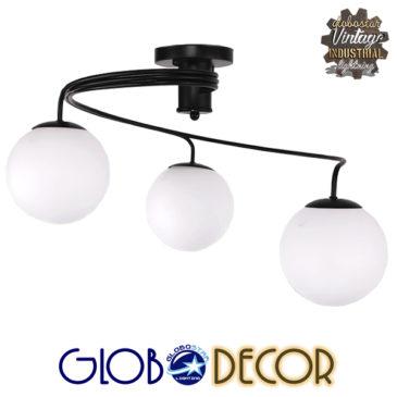 Μοντέρνο Φωτιστικό Οροφής Τρίφωτο Μαύρο Μεταλλικό με Λευκό Γυαλί Φ60 GloboStar SELINA 01089