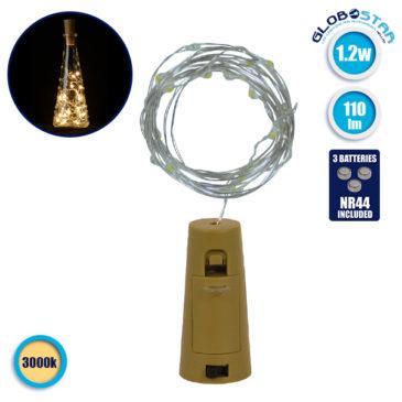 Διακοσμητική Γιρλάντα 20 LED με Ασημένιο Συρμάτινο Καλώδιο 2 Μέτρων Μπαταρίας για Μπουκάλια Θερμό Λευκό 3000k GloboStar 80802