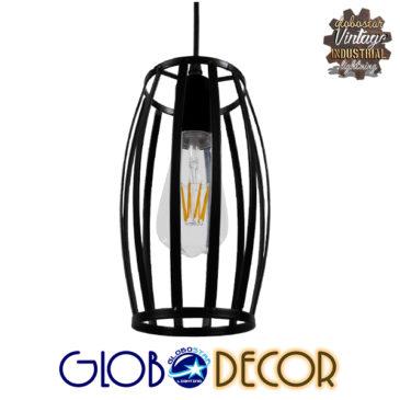 Vintage Industrial Κρεμαστό Φωτιστικό Οροφής Μονόφωτο Μαύρο Μεταλλικό Πλέγμα Φ14 GloboStar ZEBRA 01062