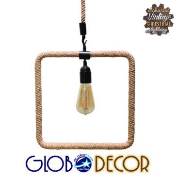 Vintage Industrial Κρεμαστό Φωτιστικό Οροφής Μονόφωτο Μαύρο Μεταλλικό με Μπεζ Σχοινί GloboStar PROSPERA 01240