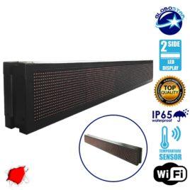 Αδιάβροχη Κυλιόμενη Επιγραφή LED 230V USB & WiFi Κόκκινη Διπλής Όψης 168x20cm GloboStar 90105