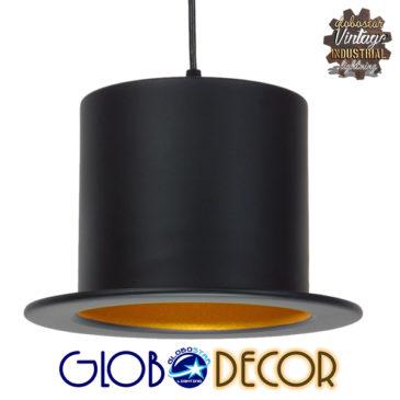 Vintage Κρεμαστό Φωτιστικό Οροφής Μονόφωτο Μαύρο Μεταλλικό Καμπάνα Φ26 GloboStar SHERLOCK 01215