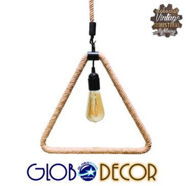 Vintage Industrial Κρεμαστό Φωτιστικό Οροφής Μονόφωτο Μαύρο Μεταλλικό με Μπεζ Σχοινί GloboStar CONSOLATA 01238