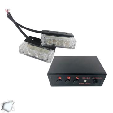 Εξωτερικά Φώτα Οδικής Βοήθειας STROBO LED 2×1 6W 10-30V IP65 Αδιάβροχα Λευκό GloboStar 33535