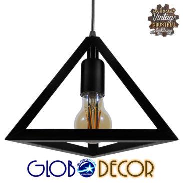 Μοντέρνο Κρεμαστό Φωτιστικό Οροφής Μονόφωτο Μαύρο Μεταλλικό Πλέγμα Φ25 GloboStar TRIANGLE 01063
