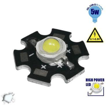 Υψηλής Ισχύος Star LED High Power 5W 3.2V Ψυχρό Λευκό 6000k GloboStar 30040