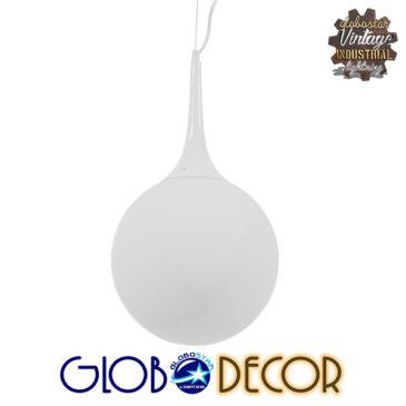 Μοντέρνο Κρεμαστό Φωτιστικό Οροφής Μονόφωτο Λευκό Γυάλινο Φ25 GloboStar SPHERE 01143