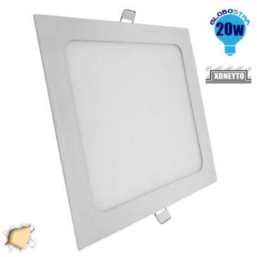 Πάνελ PL LED Οροφής Χωνευτό Τετράγωνο 20W 230V 1820lm 180° Θερμό Λευκό 3000k GloboStar 01886