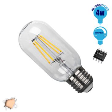 Λάμπα LED E27 T45 Γλόμπος 4W 230V 400lm 320° Edison Filament Retro Θερμό Λευκό 2700k Dimmable GloboStar 44017