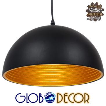 Μοντέρνο Κρεμαστό Φωτιστικό Οροφής Μονόφωτο Μαύρο Μεταλλικό Καμπάνα Φ30 GloboStar CHIME BLACK 01004