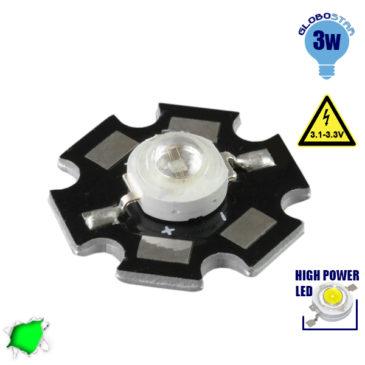 Υψηλής Ισχύος Star LED High Power 3W 3.2V Πράσινο GloboStar 88977