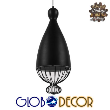Vintage Κρεμαστό Φωτιστικό Οροφής Μονόφωτο Μαύρο Μεταλλικό Πλέγμα Φ26 GloboStar CARNEL 01106