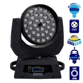 Επαγγελματική Κινούμενη Ρομποτική Κεφαλή WASH CREE LED 360W 230V Zoom 12°-75° DMX512 RGBW GloboStar 51116