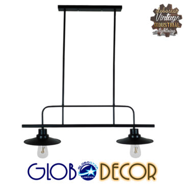 Vintage Industrial Φωτιστικό Οροφής Δίφωτο Μαύρο Μεταλλικό Ράγα GloboStar BILLIARD BLACK 01007