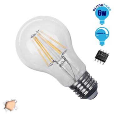 Λάμπα LED E27 A60 Γλόμπος 6W 230V 600lm 320° Edison Filament Retro Θερμό Λευκό 2700k Dimmable GloboStar 44009