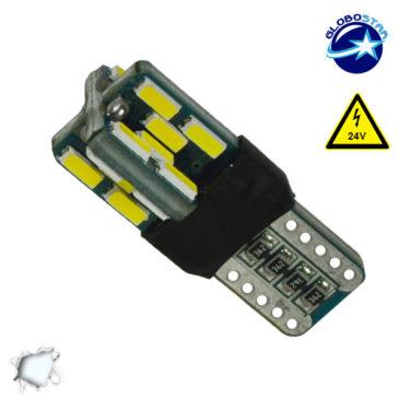 Λαμπτήρας LED T10 Can Bus με 24 SMD 4014 Samsung Chip 24v 6000k GloboStar 05484