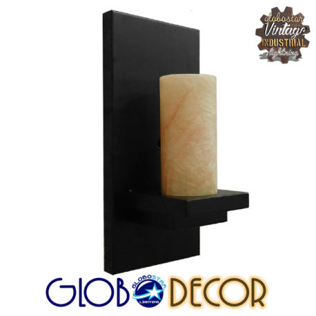 Vintage Φωτιστικό Τοίχου Απλίκα Μονόφωτο Μαύρο Μεταλλικό με Μπεζ Όνυχα GloboStar ODILIA 01245