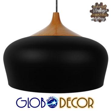 Μοντέρνο Κρεμαστό Φωτιστικό Οροφής Μονόφωτο Μαύρο Μεταλλικό Καμπάνα Φ35 GloboStar VILI BLACK 01261