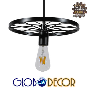 Vintage Industrial Κρεμαστό Φωτιστικό Οροφής Μονόφωτο Μαύρο Μεταλλικό Πλέγμα Φ30 GloboStar WHEEL 01161