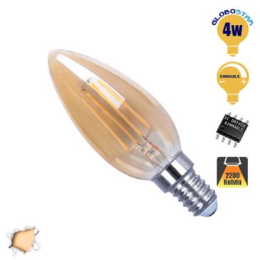 Λάμπα LED E14 Κεράκι C35 4W 230V 400lm 320° Edison Filament Retro Θερμό Λευκό Μελί 2200k Dimmable GloboStar 44020
