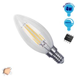 Λάμπα LED E14 Κεράκι C35 4W 230V 400lm 320° Edison Filament Retro Θερμό Λευκό 2700k Dimmable GloboStar 44002
