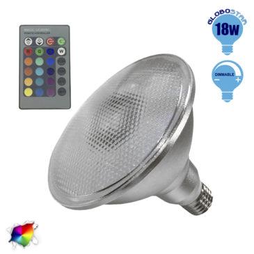 Λαμπτήρας LED PAR38 E27 18 Watt RGB με Ασύρματο Χειριστήριο GloboStar 05571