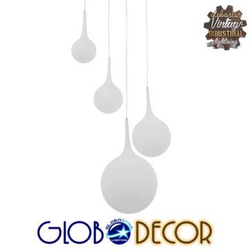 Μοντέρνο Κρεμαστό Φωτιστικό Οροφής Πολύφωτο Λευκό Γυάλινο Φ75 GloboStar DORI 01144