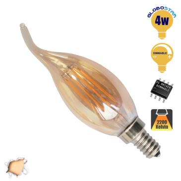 Λάμπα LED E14 Κεράκι Φλόγα C35T 4W 230V 400lm 320° Edison Filament Retro Θερμό Λευκό Μελί 2200k Dimmable GloboStar 44021