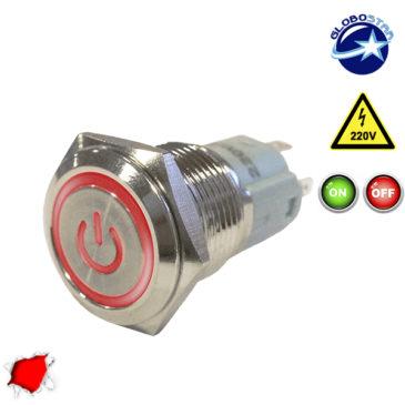 Διακοπτάκι LED ON/OFF 230 Volt Κόκκινο GloboStar 05051