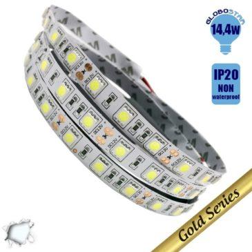 Ταινία LED 14.4 Watt 12 Volt Ψυχρό Λευκό IP20 GloboStar 37630
