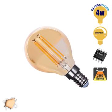 Λάμπα LED E14 G45 Mini Γλόμπος 4W 230V 400lm 320° Edison Filament Retro Θερμό Λευκό Μελί 2200k Dimmable GloboStar 44022