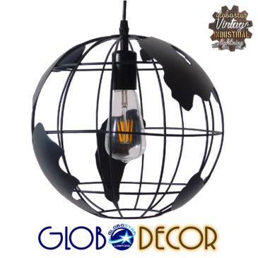 Vintage Industrial Κρεμαστό Φωτιστικό Οροφής Μονόφωτο Μαύρο Μεταλλικό Πλέγμα Φ30 GloboStar EARTH BLACK 30CM 01205