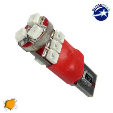 Λαμπτήρας LED T10 Can Bus με 9 SMD 1210 Πορτοκαλί GloboStar 11350