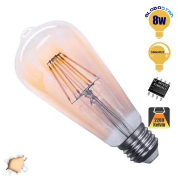 Λάμπα LED E27 ST64 Γλόμπος Αχλάδι 8W 230V 800lm 320° Edison Filament Retro Θερμό Λευκό Μελί 2200k Dimmable GloboStar 44029