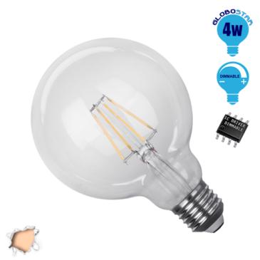 Λάμπα LED E27 G95 Γλόμπος 4W 230V 400lm 320° Edison Filament Retro Θερμό Λευκό 2700k Dimmable GloboStar 44012