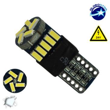 Λαμπτήρας LED T10 Can Bus με 15 SMD 4014 Samsung Chip 24v 6000k GloboStar 05483