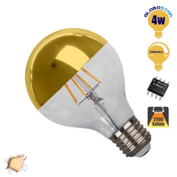 Λάμπα LED E27 G80 Ανεστραμμένου Καθρέπτου 4W 230V 400lm 180° Edison Filament Retro Θερμό Λευκό Χρυσό 2700k Dimmable GloboStar 44026