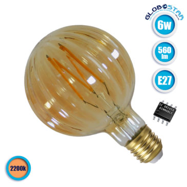Λάμπα LED E27 Watermelon 6W 230V 560lm 320° Edison Filament Retro Θερμό Λευκό Μελί 2200k Dimmable GloboStar 44036