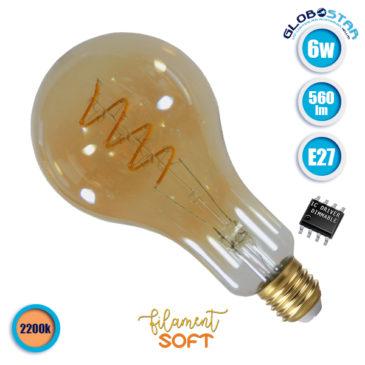 Λάμπα LED E27 PS30 Grapes 6W 230V 560lm 320° Edison Soft Filament Retro Θερμό Λευκό Μελί 2200k Dimmable GloboStar 44037