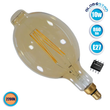 Λάμπα LED E27 BT180 Mangos 12W 230V 1060lm 320° Edison Filament Retro Θερμό Λευκό Μελί 2200k Dimmable GloboStar 44039