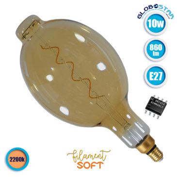 Λάμπα LED E27 BT180 10W 230V 860lm 320° Edison Soft Filament Retro Θερμό Λευκό Μελί 2200k Dimmable GloboStar 44043