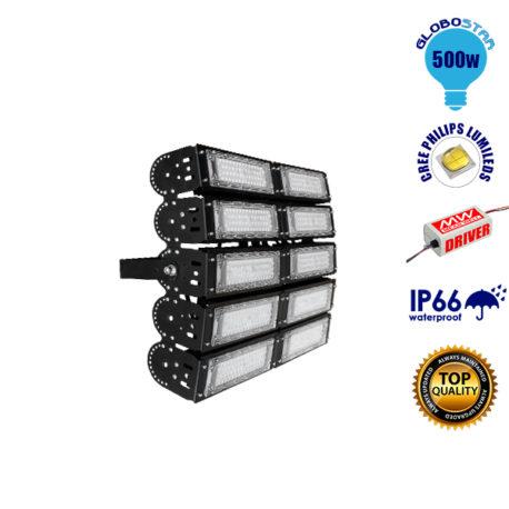 Φωτιστικό Προβολέας Γηπέδων Philips Lumiled LED 500W 230V 70000lm Ρυθμιζόμενες Μοίρες MeanWell Driver Ψυχρό Λευκό 5000k GloboStar 03501