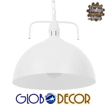 Vintage Κρεμαστό Φωτιστικό Οροφής Μονόφωτο Λευκό Μεταλλικό Καμπάνα Φ31 GloboStar LARKIN WHITE 01174