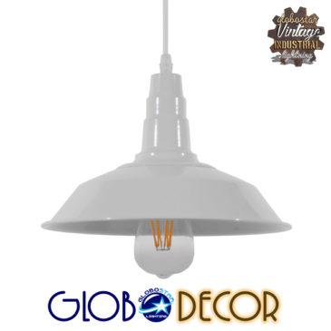 Vintage Industrial Κρεμαστό Φωτιστικό Οροφής Μονόφωτο Λευκό Μεταλλικό Καμπάνα Φ26 GloboStar RAY WHITE 01044