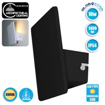 LED Φωτιστικό Τοίχου Απλίκα Αρχιτεκτονικού Φωτισμού Square Back Light Black IP54 10 Watt 60° 1400lm 230V CREE Θερμό Λευκό GloboStar 93051