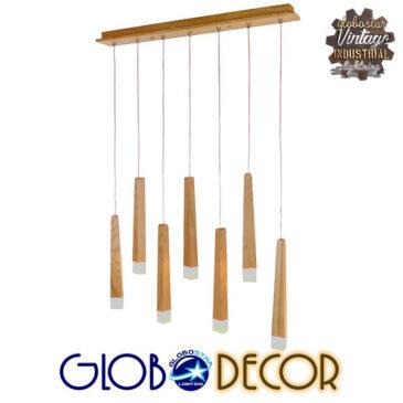 Μοντέρνο Κρεμαστό Φωτιστικό Οροφής Πολύφωτο LED Μπεζ Ξύλινο GloboStar WOODFALLS 01253