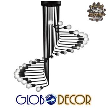 Μοντέρνο Φωτιστικό Οροφής Πολύφωτο Μαύρο Μεταλλικό Φ80 GloboStar STAIRS 01024