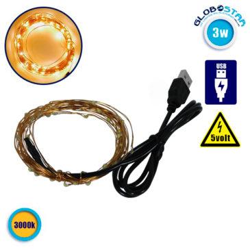 Διακοσμητική Γιρλάντα 5 Μέτρων 50 LED USB 5 Volt 3 Watt με Χάλκινο Συρμάτινο Καλώδιο Θερμό Λευκό 3000k GloboStar 80810
