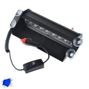 Φώτα Αστυνομίας STROBO για Παρμπρίζ Αυτοκινήτου με Βεντούζες Στήριξης 8 LED 10-30V Μπλε GloboStar 77663