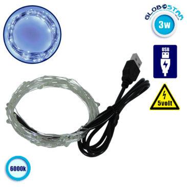 Διακοσμητική Γιρλάντα 5 Μέτρων 50 LED USB 5 Volt 3 Watt με Ασημένιο Συρμάτινο Καλώδιο Ψυχρό Λευκό 6000k GloboStar 80805